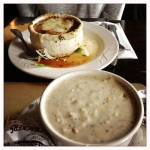 French Onion soup and Clam Chowder