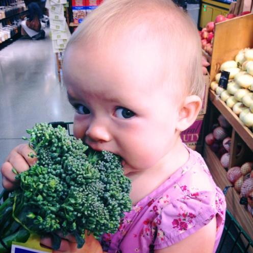 Addie loving on some broccolini